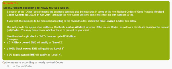BEE Revised Codes